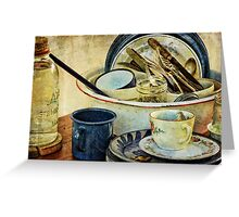 Old Time Cups and Dishes Greeting Card