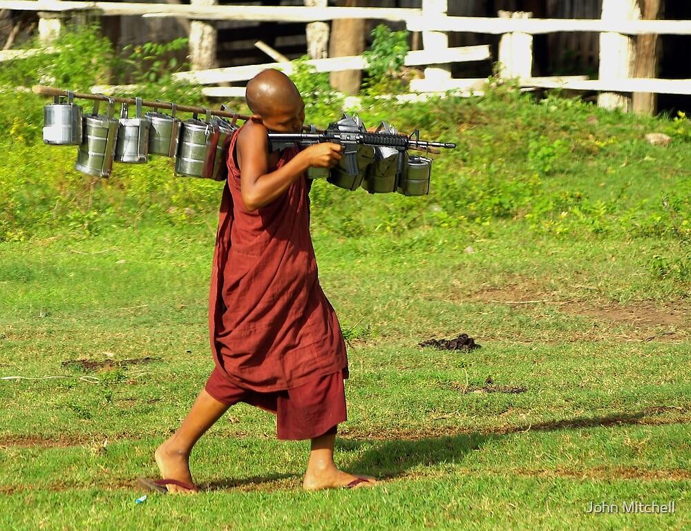 Machine gun monk by John Mitchell