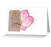 Orchid on a Luggage Tag Greeting Card
