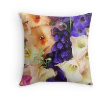Glads & Delphiniums, August, Detail #1 Throw Pillow