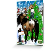 A Horse and Kid Christmas Greeting Card