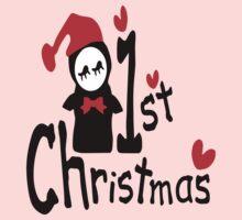 My 1st Christmas txt penguin vector art  Kids Clothes