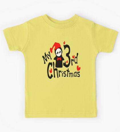 My 3rd Christmas txt penguin vector art Kids Tee