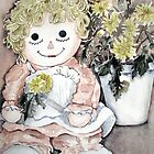 Rag doll and chrysanthemums by Marie Theron