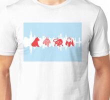 Chicago Flag with Logos and Skyline Poster Unisex T-Shirt
