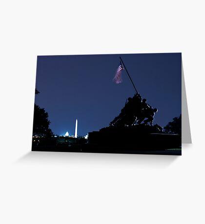 raising the US flag Greeting Card