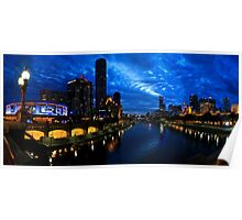YARRA RIVER NIGHT PANORAMA MELBOURNE Poster