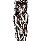 Candle Man surreal black and white pen ink drawing by Vitaliy Gonikman