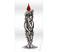 Candle Man surreal black and white pen ink drawing Poster