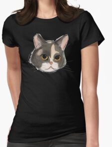 Watercolor Kitten Face Womens Fitted T-Shirt