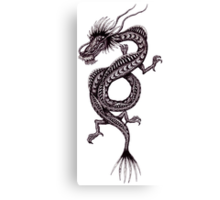 Chinese Dragon black and white pen ink drawing Canvas Print