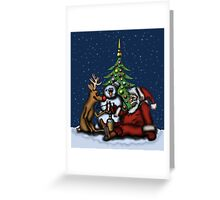 Funny Christmas Drinking Party drawing Greeting Card