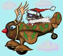 Funny Santa on Rudolph plane drawing by Vitaliy Gonikman