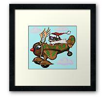 Funny Santa on Rudolph plane drawing Framed Print