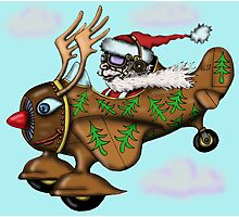 Funny Santa on Rudolph plane drawing Photographic Print