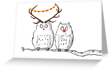 Christmas Owls by LordOtter