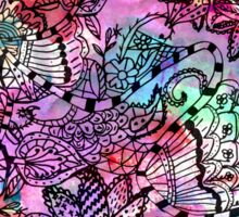 Modern colorful watercolor tangle floral pattern  Sticker