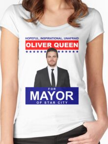 Oliver Queen For Mayor of Star City - Poster Design Women's Fitted Scoop T-Shirt