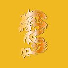 Golden Dragon on Yellow by Heidi Hermes