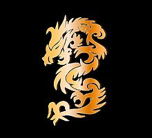 Golden Dragon on Black by Heidi Hermes