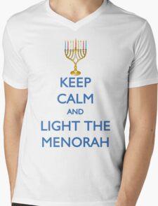 HANUKKAH - KEEP CALM AND LIGHT THE MENORAH Mens V-Neck T-Shirt