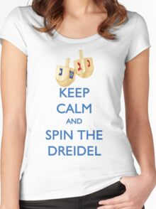 HANUKKAH - KEEP CALM AND SPIN THE DREIDEL Women's Fitted Scoop T-Shirt