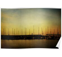 Sailboats and Sunrise Poster