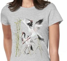 Two Cranes In Bamboo Womens Fitted T-Shirt