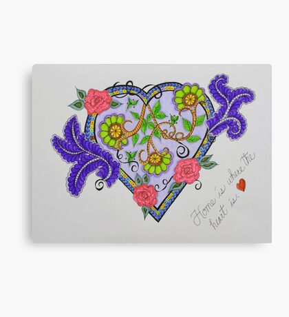 """Heart/5 - """"Home Is Where The Heart Is"""" Saying Canvas Print"""