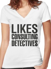 SHERLOCK - LIKES CONSULTING DETECTIVES Women's Fitted V-Neck T-Shirt