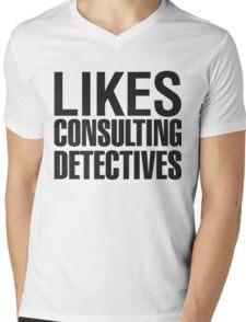 SHERLOCK - LIKES CONSULTING DETECTIVES Mens V-Neck T-Shirt