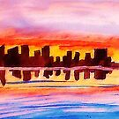 San Diego at sunset, watercolor by Anna  Lewis