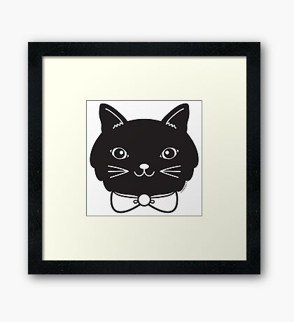 Cool Black Kitty Cat Face Framed Print
