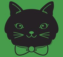 Cool Black Kitty Cat Face Kids Tee