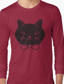 Cool Black Kitty Cat Face Long Sleeve T-Shirt