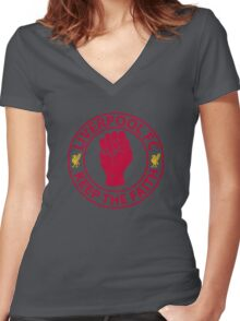 Liverpool FC - Keep The Faith Women's Fitted V-Neck T-Shirt