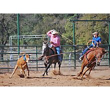 Steer Roping Photographic Print