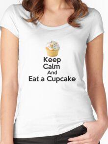 Keep Calm & Eat a Cupcake ( T-Shirt ) Women's Fitted Scoop T-Shirt
