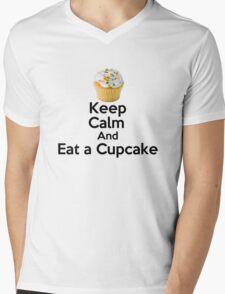 Keep Calm & Eat a Cupcake ( T-Shirt ) Mens V-Neck T-Shirt