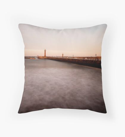 Whitby - slow shutter seascape Throw Pillow
