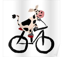 Funky Cool Black and White Cow Riding Bicycle Poster