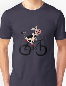 Funky Cool Black and White Cow Riding Bicycle Unisex T-Shirt
