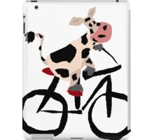 Funky Cool Black and White Cow Riding Bicycle iPad Case/Skin