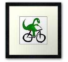 Funny Green Brontosaurus Dinosaur Riding Bicycle Framed Print