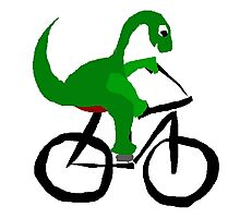 Funny Green Brontosaurus Dinosaur Riding Bicycle Photographic Print