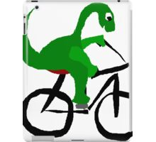 Funny Green Brontosaurus Dinosaur Riding Bicycle iPad Case/Skin