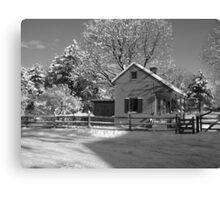 Landis Valley Tin Shop Winter B&W Canvas Print