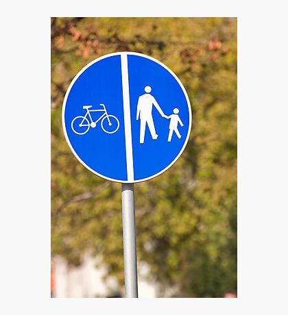 Pedestrian and bicycle crossing sign. Photographic Print