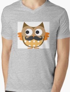 Brown Mustachioed Owl Mens V-Neck T-Shirt