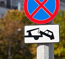 Tow away zone sign. by FER737NG